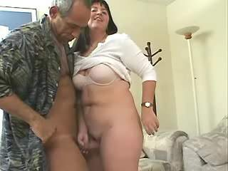 Breasty plump honey fucks with dude on nature